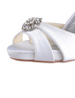 Women's Silk Like Satin Cone Heel Peep Toe Platform Sandals With Rhinestone (047026741)