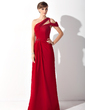 A-Line/Princess One-Shoulder Sweep Train Chiffon Mother of the Bride Dress With Ruffle Beading (008015149)