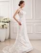 Trumpet/Mermaid Scoop Neck Court Train Lace Wedding Dress (002019532)