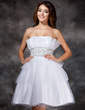 A-Line/Princess Scalloped Neck Knee-Length Tulle Homecoming Dress With Ruffle Beading Sequins (022004396)