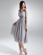A-Line/Princess One-Shoulder Knee-Length Chiffon Bridesmaid Dress With Ruffle (007015679)