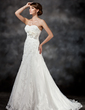 A-Line/Princess Sweetheart Court Train Tulle Wedding Dress With Appliques Lace Flower(s) Sequins (002017416)