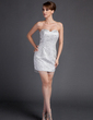 Sheath/Column Sweetheart Short/Mini Charmeuse Cocktail Dress With Sequins (016015768)