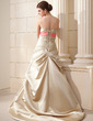 A-Line/Princess Strapless Court Train Satin Wedding Dress With Ruffle Sash Beading Bow(s) (002019538)