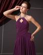 A-Line/Princess Halter Floor-Length Chiffon Evening Dress With Ruffle Beading (017014244)