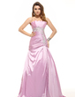 A-Line/Princess Scalloped Neck Sweep Train Taffeta Prom Dress With Ruffle Beading Appliques Lace (018016097)