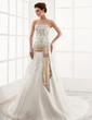 A-Line/Princess Strapless Cathedral Train Organza Wedding Dress With Embroidered Lace Sash (002000303)