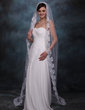 One-tier Cathedral Bridal Veils With Lace Applique Edge (006002245)