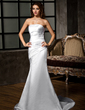 Trumpet/Mermaid Strapless Court Train Satin Wedding Dress With Ruffle (002001683)