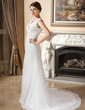 A-Line/Princess V-neck Court Train Chiffon Wedding Dress With Ruffle (002012729)