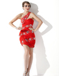 Sheath/Column One-Shoulder Short/Mini Chiffon Homecoming Dress With Ruffle Beading (022009627)