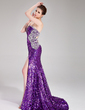 Trumpet/Mermaid Sweetheart Court Train Sequined Prom Dress With Beading Split Front (018024364)