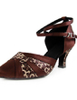 Women's Satin Leatherette Heels Pumps Ballroom With Ankle Strap Dance Shoes (053013365)