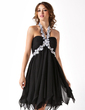 Empire Halter Knee-Length Chiffon Homecoming Dress With Beading Appliques Lace Cascading Ruffles (022010554)