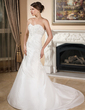 A-Line/Princess Sweetheart Chapel Train Taffeta Wedding Dress With Ruffle Lace Beading (002001358)