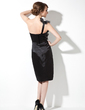 Sheath/Column One-Shoulder Knee-Length Charmeuse Cocktail Dress With Ruffle Flower(s) (016008711)