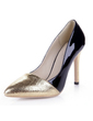 Patent Leather Stiletto Heel Pumps Closed Toe With Sparkling Glitter shoes (085038771)