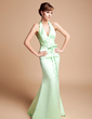 Trumpet/Mermaid Halter Sweep Train Satin Bridesmaid Dress With Ruffle Bow(s) (007001763)