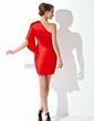 Sheath/Column One-Shoulder Short/Mini Charmeuse Cocktail Dress (016021171)