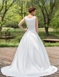 Ball-Gown Scoop Neck Chapel Train Satin Wedding Dress With Beading Sequins (002012880)