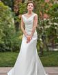 A-Line/Princess Off-the-Shoulder Chapel Train Satin Wedding Dress With Ruffle (002011775)
