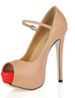 Leatherette Stiletto Heel Sandals Platform Peep Toe With Buckle shoes (085017471)
