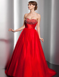 Ball-Gown Sweetheart Sweep Train Tulle Quinceanera Dress With Ruffle Beading (021020796)
