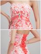 Balo Elbisesi Askısız Şapel Kuyruk Taffeta Gelinlik Ile Büzgü Lace Kristal Broş (002000498)