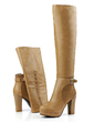 Leatherette Chunky Heel Pumps Closed Toe Knee High Boots With Buckle Zipper shoes (088054799)