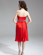 Empire Sweetheart Knee-Length Charmeuse Homecoming Dress With Beading Pleated (022016258)