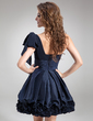 A-Line/Princess One-Shoulder Short/Mini Chiffon Taffeta Cocktail Dress With Ruffle Bow(s) (016008242)