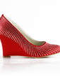 Women's Satin Wedge Heel Closed Toe Pumps With Rhinestone (047020215)