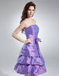 A-Line/Princess Strapless Knee-Length Taffeta Bridesmaid Dress With Ruffle Bow(s) (007000985)