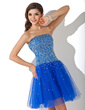 A-Line/Princess Strapless Short/Mini Tulle Homecoming Dress With Beading Sequins (022011232)