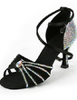 Women's Satin Heels Latin With Rhinestone Ankle Strap Dance Shoes (053018500)