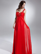Empire One-Shoulder Floor-Length Chiffon Evening Dress With Beading Appliques Lace (017015623)