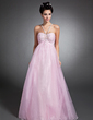 Empire V-neck Floor-Length Organza Holiday Dress With Ruffle Beading (020015074)
