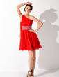 A-Line/Princess One-Shoulder Short/Mini Chiffon Homecoming Dress With Ruffle Beading (022008985)