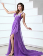 A-Line/Princess One-Shoulder Court Train Chiffon Holiday Dress With Ruffle Appliques Lace Split Front (020017317)