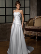 A-Line/Princess Sweetheart Chapel Train Satin Wedding Dress With Ruffle Lace Beading (002011776)