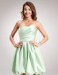 A-Line/Princess Sweetheart Knee-Length Satin Homecoming Dress With Ruffle (022016387)