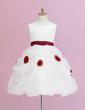Ball Gown Knee-length Flower Girl Dress - Organza/Satin Sleeveless Scoop Neck With Ruffles/Sash/Flower(s)/Pick Up Skirt (010005328)