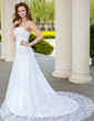 A-Line/Princess Sweetheart Chapel Train Taffeta Lace Wedding Dress With Ruffle Beading (002001706)