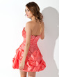 A-Line/Princess Scalloped Neck Short/Mini Taffeta Homecoming Dress With Ruffle Beading (022010965)