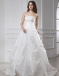 Ball-Gown Strapless Chapel Train Taffeta Wedding Dress With Embroidered Beading (002015457)
