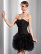 A-Line/Princess Sweetheart Short/Mini Tulle Homecoming Dress With Cascading Ruffles (022014777)