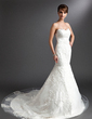 Trumpet/Mermaid Sweetheart Chapel Train Tulle Wedding Dress With Lace (002016376)