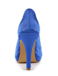 Satyna Obcas Stożkowy Z Odkrytym Palcem Buty na Platformie Sandały Buty Ślubne Z Kryształ Górski (047011057)