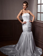 Trumpet/Mermaid Strapless Chapel Train Satin Wedding Dress With Ruffle Beading (002000608)