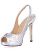 Women's Sparkling Glitter Stiletto Heel Peep Toe Sandals Slingbacks With Sequin (047015242)